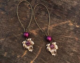 Vintage repurposed rhinestone leaf earrings