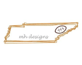 State of Tennessee with Football embroidery design, Vintage stitch Tennessee, Tennessee embroidery file, Bean stitch  Tennessee