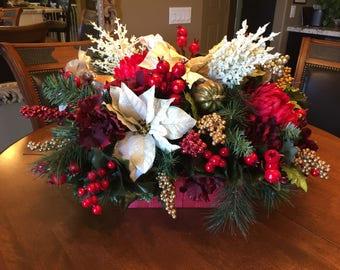 Holiday Berry Centerpiece, Poinsettia Christmas Centerpiece, Christmas Cheer Floral Arrangement, Mantle Holiday Decor, Holiday Home Decor,