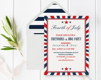 4th of July Invitation Template with Envelope Liner, Independence Day, Printable BBQ Party Invitation Editable PDF Templates, DIY You Print