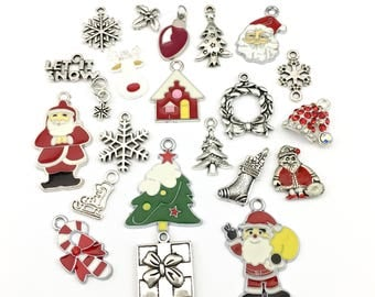 21 Christmas charms deluxe collection, enamel and silver tone,16mm to 25mm # ENS A 015