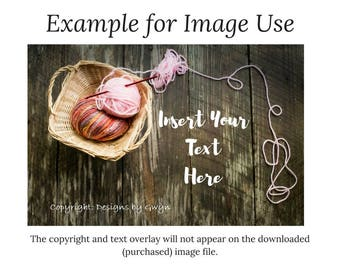 Digital Download-Pink/Multicolor Yarn Basket with Crochet Hook-Farmhouse Plank Wood Background - Horizontal Flat Lay Image download as .jpg