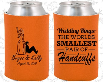 Wedding Rings, The Worlds Smallest Pair of Handcuffs, Custom Wedding Gifts, Handcuffs, Bride and Groom, Wedding Can Coolers (502)