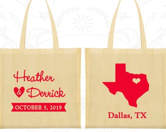 Cotton Bags, State of Texas, Welcome Wedding Bags, Wedding Favors, Personalized Tote Bags, Custom Canvas Bags (C142)