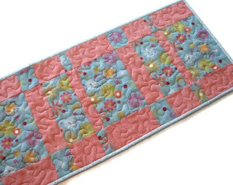 "FREE SHIPPING To Canada and USA, Pastel Floral Quilted Table Runner, Reversible Spring Table Mat,  49""x13"", Blue and Pink Table Runner"