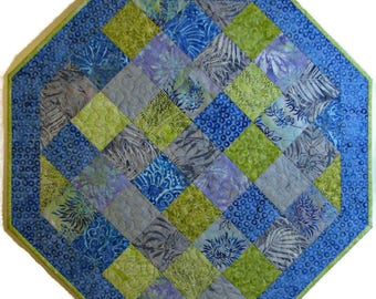 Spring Quilted Table Topper, Batik Patchwork Octagon Table Topper, Blue Violet Grey Green Table Mat, Quiltsy Handmade