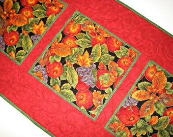 "Autumn Quilted Table Runner, Fall Harvest Quilted Table Mat, Thanksgiving Table Runner, 35""x16"", Quilted Handmade"