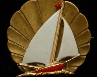Enamel Sailboat Pin Vintage