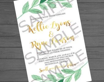 Green Leaf Wedding Invitation, Greenery and Gold Lettering, 4x6 Wedding Invitation