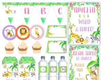 Girl Jungle Party Package, Wild one Party printables, Safari Birthday Party package, Floral Jungle Party DIGITAL FILES