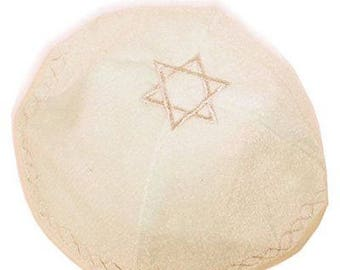 Kippah with Star of David-Beige Color