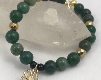 St Patricks day charm bracelet, clover charm bracelet, moss agate and gold luster hematite. 14 k gold charm