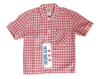 FRENCH vintage 70's / kids / shirt / shorts leeves / checkered / red and white / Petit Bateau / new old stock / size 18 months