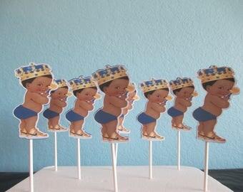 Royal Prince Cupcake Toppers(12)Little Prince,Royal Blue Birthday,Royal Prince Baby Shower,Royal Baby Decor,Royal Theme