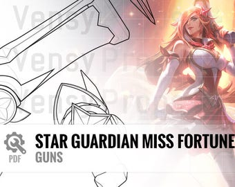 Star Guardian Miss Fortune - Guns (Front, Top, Side) - Blueprint Cosplay League of Legends DIY
