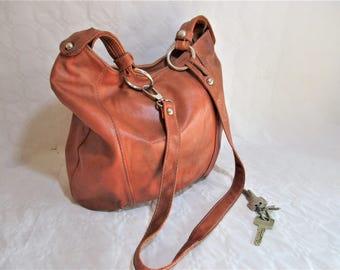 Vintage Distressed Tawny Brown Leather Hobo Bag