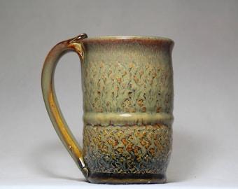 14oz ceramic mug, wheel thrown pottery mug,  pottery coffee cup