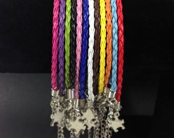 Sale!! AUTISM AWARENESS Braided Leather PUZZLE Piece Bracelet Choose Color buy more save on shipping-2.99 ships unlimited amount