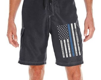 15% OFF SALE Thin Blue Line American Flag Black Board Shorts SKU: Boardflag