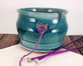 Green Yarn Bowl, ceramic knitting bowl, heart bowl, love yarn, crochet bowl, yarn bowl for knitting, pottery yarn bowl