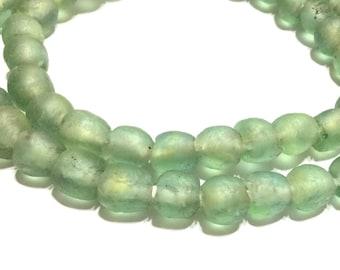 Handmade Sea Glass LT Green Ghana Krobo recycled Glass African trade Beads