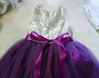 Purple and silver sequined dress, purple flower girls dress, sparkling purple tutu dress