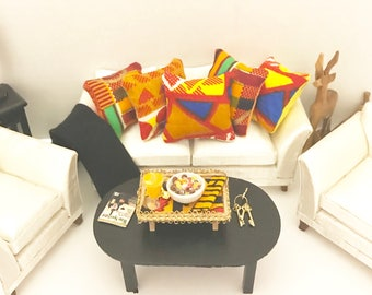 African Dollhouse Pillows/1:12 Miniature Pillow Set/ African Doll Bedding/ African Fashion Doll Bedding/ Dollhouse Miniatures/Doll Beds