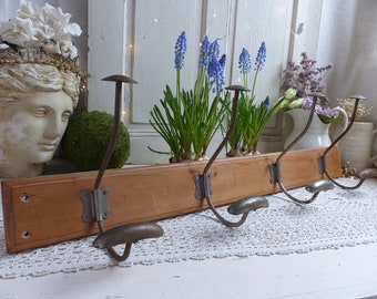 Antique french coat rack / hat rack. 4 French vintage coat hooks. Bistro style coat hooks. Cottage coat hooks. School. Rustic country. Loft