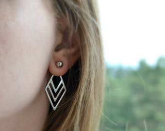 Triangle shape earring jackets Bar ear jackets Front back earrings Simple ear jacket Hypoallergenic surgical steel studs Two sided earring