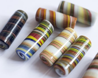 Cylinder Glass Beads, Lampwork beads, White glass beads, glass beads, Multicolor Glass Beads, Handmade glass beads, Large beads, Swirl bead