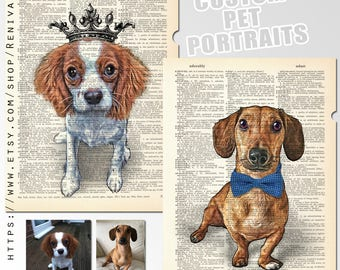 2 Portraits from photo, Personalized Gift Idea for Pets & Pet Lovers Custom, Art Print dictionary, Custom Pet Art