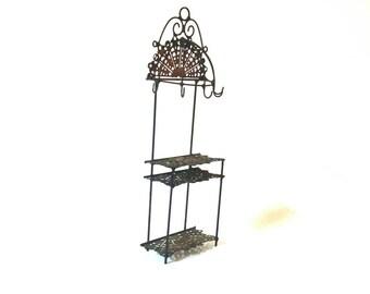 Vintage Ornate Metal Dollhouse Bakers Rack, Doll House Furniture, Miniature Kitchen Furniture, Dolls House Decor
