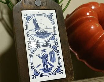 Vintage Dutch Tile Cheese Board, Blue and White Kitchen Decor, Cutting Board