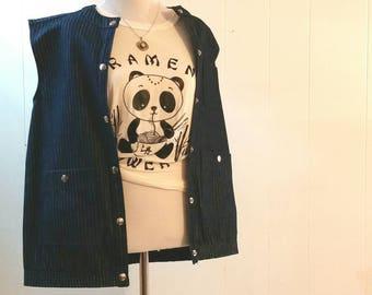 Vintage Denim Vest, Cherly Tiegs Pinstripe Denim Jean Vest, Women's Clothing Vest Size Medium