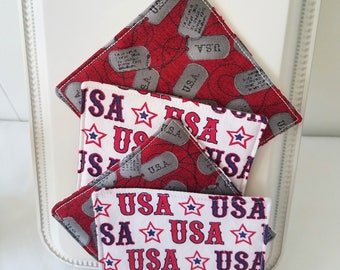 USA Coaster, American Coaster, Dog Tag Coaster, Military Coaster, Red White and Blue Coaster, Retirement Gift, Re-Enlistment Gift, July 4th
