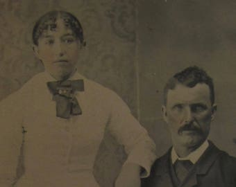Drive and Determination - Original 1880's Wealthy Man With Eyes Of Steel and His Daughter Photo Tintype Photograph - Free Shipping
