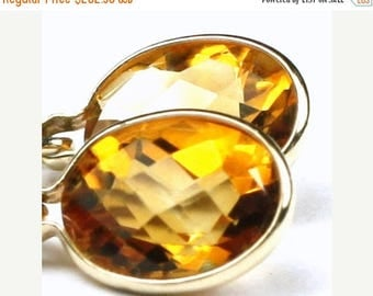 On Sale, 30% Off, Citrine, 14KY Gold Leverback Earrings, E001
