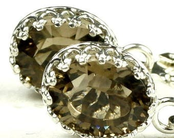 On Sale, 30% Off, Smoky Quartz, 925 Sterling Silver Crown Bezel Leverback Earrings, SE109