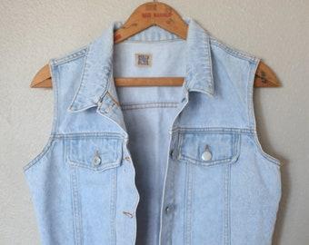 vintage cropped blue denim jean vest jacket