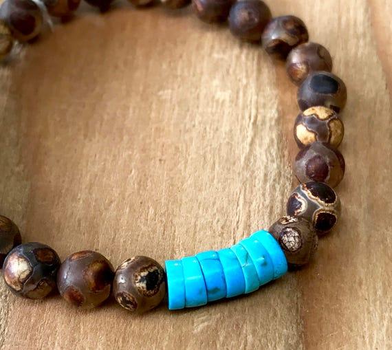 Turquoise Mala Bracelet, DZI Wrist Mala Beads Turquoise Stretch Bracelet, Protection Beads, Prosperity, Boho Mala Tibetan Mala, Yoga Jewelry