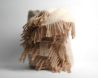 Pure Wool blanket with fringes Light beige blanket with fringes Wool blanket Pure wool throws Wool throw 55''X81''/140X205cm Perfect gift