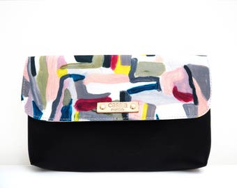 NEW - premium canvas and leather clutch/ women's clutch/ wallet/ clutch - isabella - maxi
