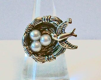 Unique Trendy Aged Bird with Nest & Pearl Eggs Fashion Ring Adjustable Band