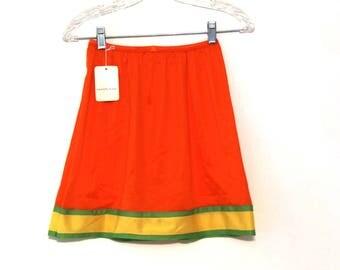 Vintage 70s slip skirt orange yellow green new with tags vanity fair