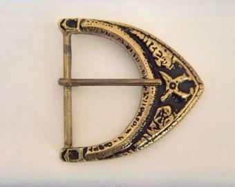 Vintage Brass Huge Buckle Bronze Ornament Belt Buckle Inscription Text