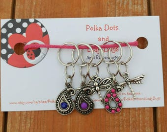 Knitting Stitch Markers - beaded stitch markers - progress keeper - set of 5