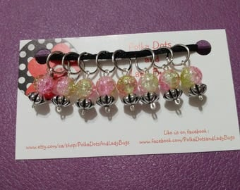 Knitting Stitch Markers - beaded stitch markers, progress keeper - set of 8