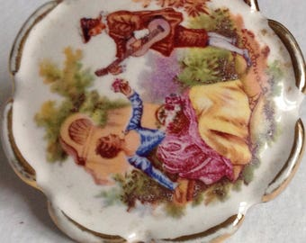 Cameo Brooch - Courting Couple -Fragonard Style - Love - Romance - Gifts for Her - Valentines