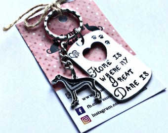Great Dane gift, Great Dane gifts, Hand Stamped, Key Chain, Home is Where my Great Dane is, Dog Lover, Great Dane dog gift, for her, for him