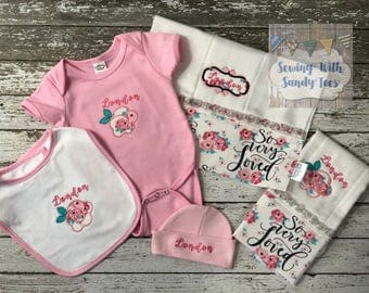 Baby Girl Layette Baby Shower Gift Baby Layette Take Home OUtfit Coming Home Outfit Baby Girl Gift Personalized Baby Gift New Baby Gift